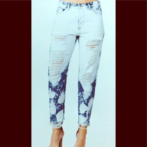 Distressed & Bleached BF Jeans